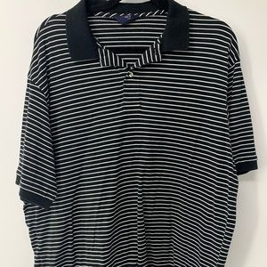 Black and White striped Half button up